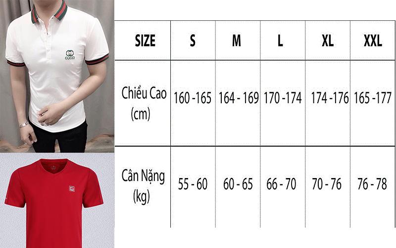 Chọn size áo thun nam theo cân nặng