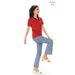 Áo polo nữ đỏ đô cổ đen sọc trắng