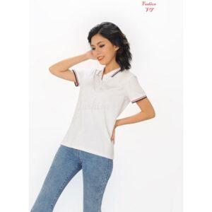 Áo polo nữ trắng sọc đỏ